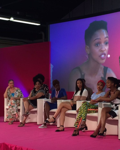 Writer and activist, Michaela Angela Davis, Representative from Shea Moisture, (name unlisted), French TV Host, Rokhaya Diallo, Tech Editor, Sequoia Blodgett, acclaimed French artist, Imany, Nandi Madida from BET Africa - (Image: Natural Hair Academy)